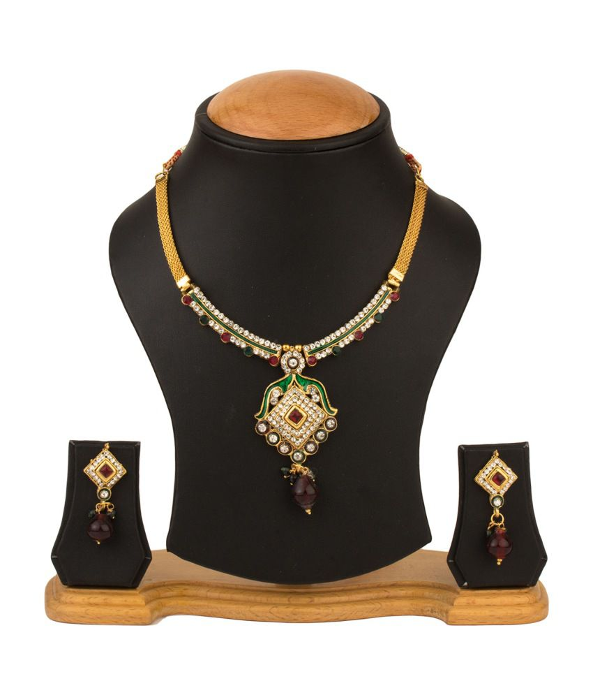 RZ Oddish Gold Plated German Silver CZ Necklace Set