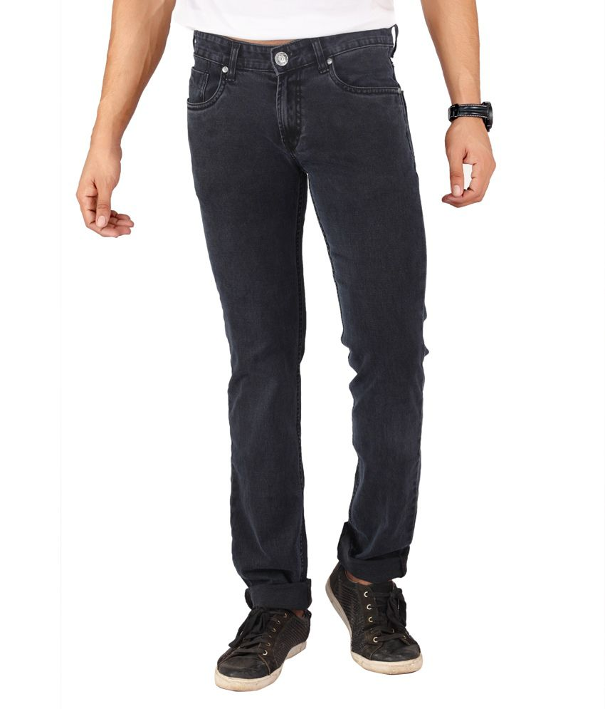 Mayback Gray Cotton Slim Fit Jeans for Men