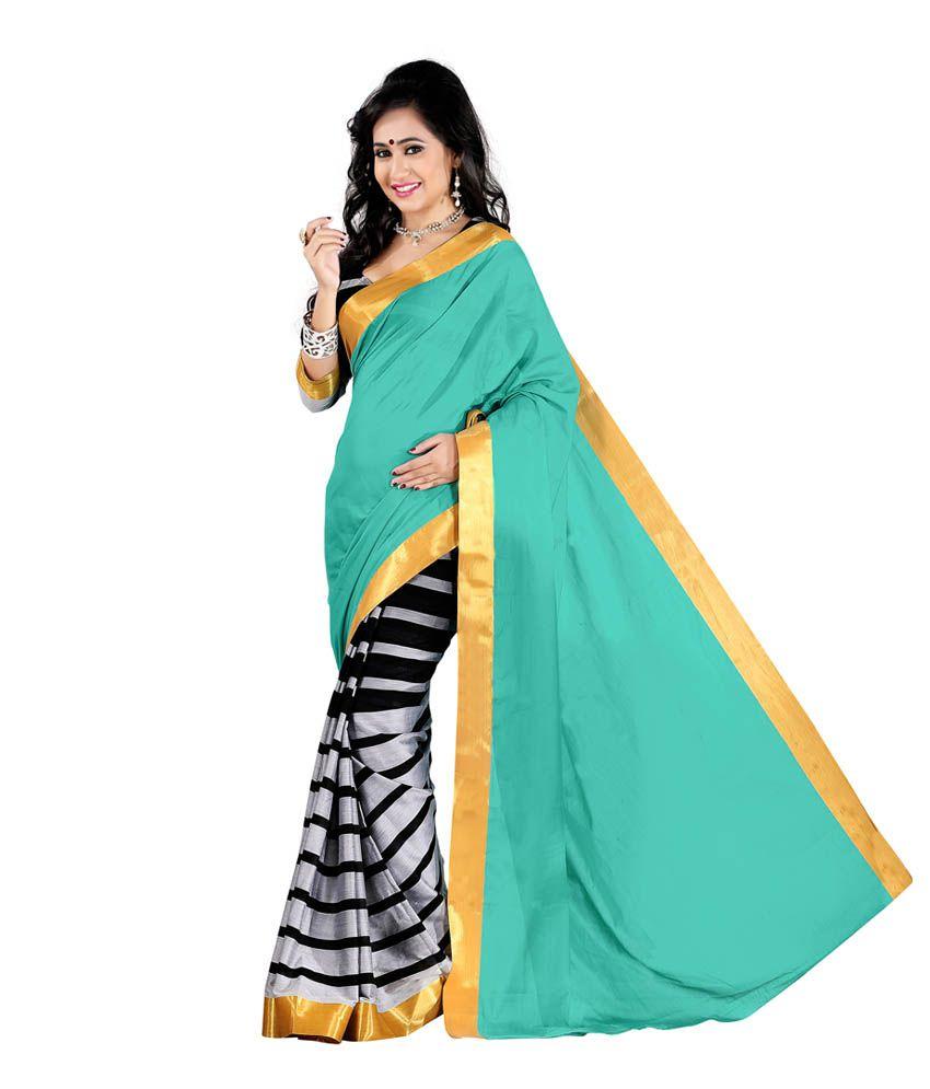 ... Sadi Turquoise Cotton Silk Saree Online at Low Price - Snapdeal.com