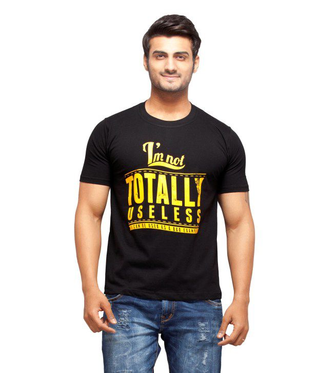 Nihaal Totally Useless Black Round Neck Printed T-Shirt