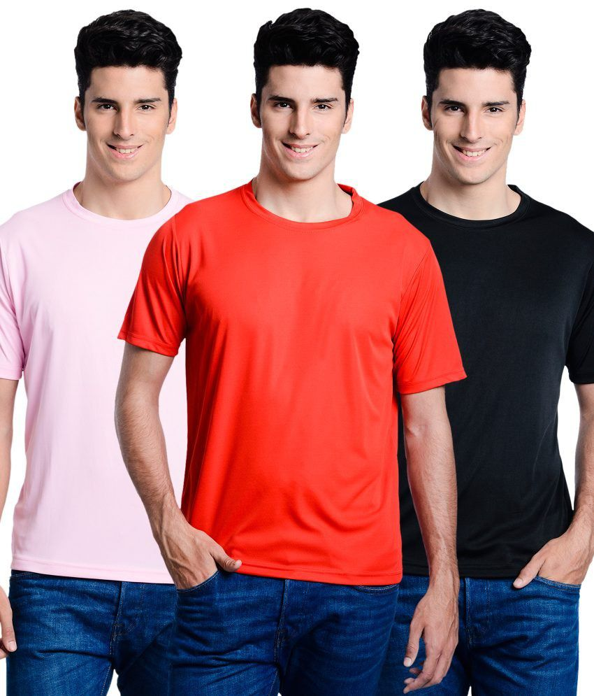 Superjoy Black Polyster Combo Of 3 Regular Sportswear T-shirts Set