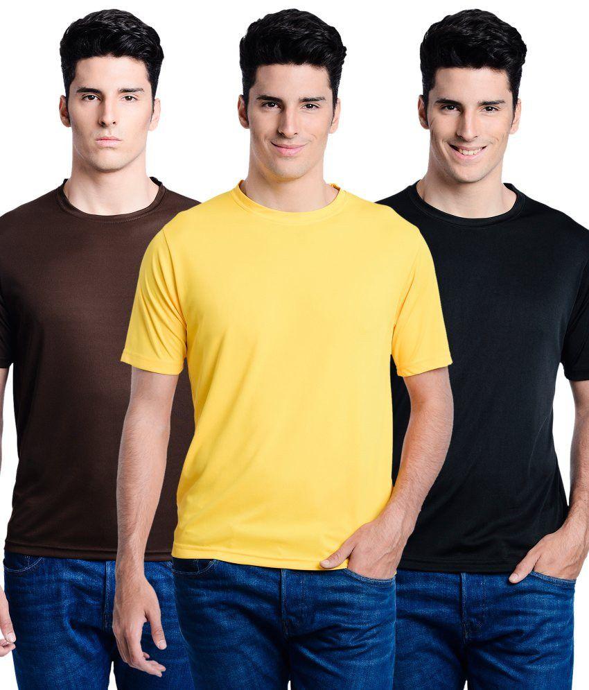 Superjoy Black Polyster Combo Of 3 Regular Sportswear T-shirts Set