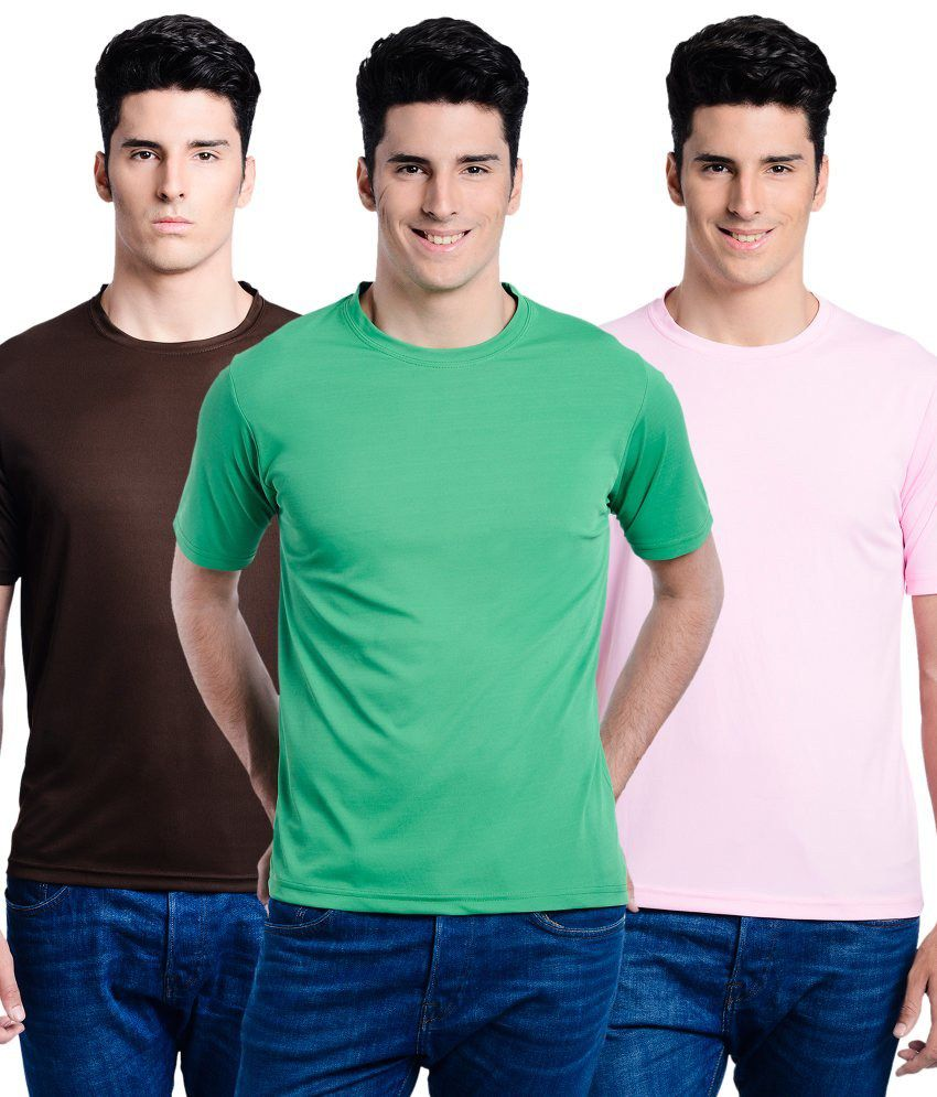 Superjoy Pink Polyster Combo Of 3 Regular Sportswear T-shirts Set