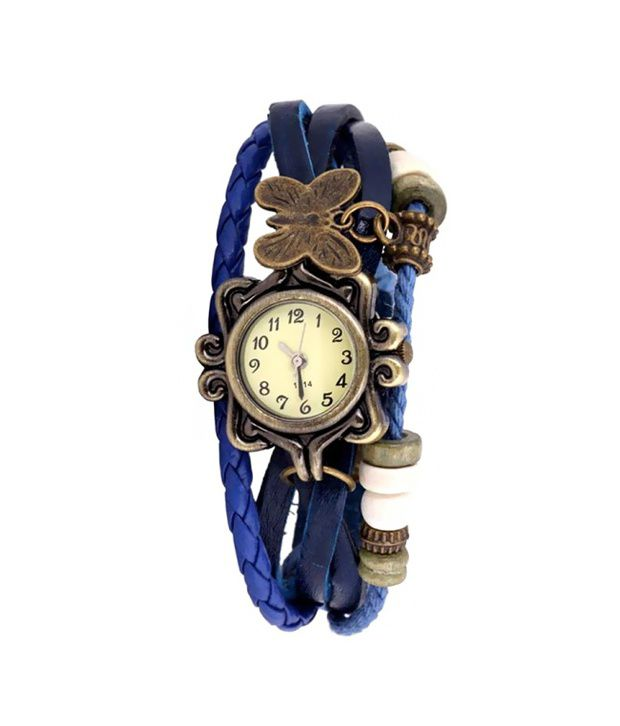 Urbano Leather Analog GoldenRod Watches for Women