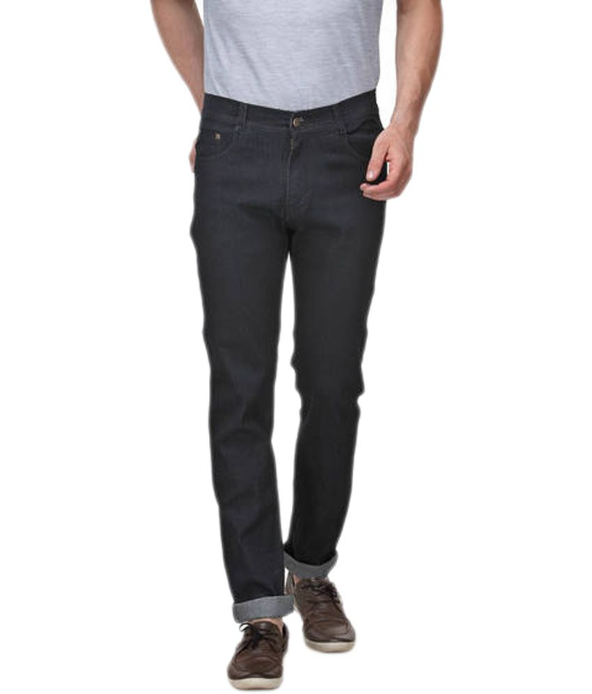 Xiango Black Cotton Faded Regular Fit Jeans