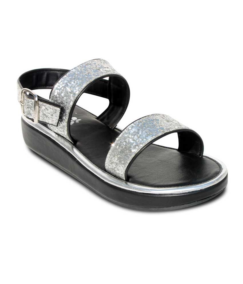 Amica Slexia Silver Faux Leather Open Toe Sandals For Women