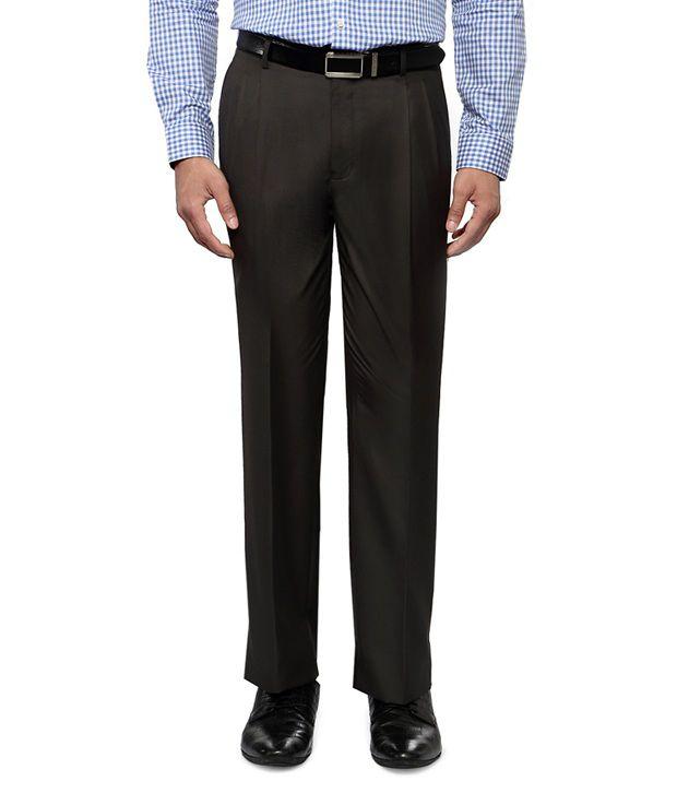 Van Heusen Brown Regular Fit Formal Pleated Trousers