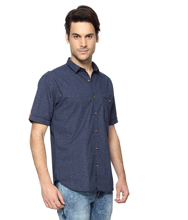 55300477604389 Van Heusen V Dot Blue Printed Slim Fit Shirt - Buy Van Heusen V Dot Blue  Printed Slim Fit Shirt Online at Best Prices in India on Snapdeal