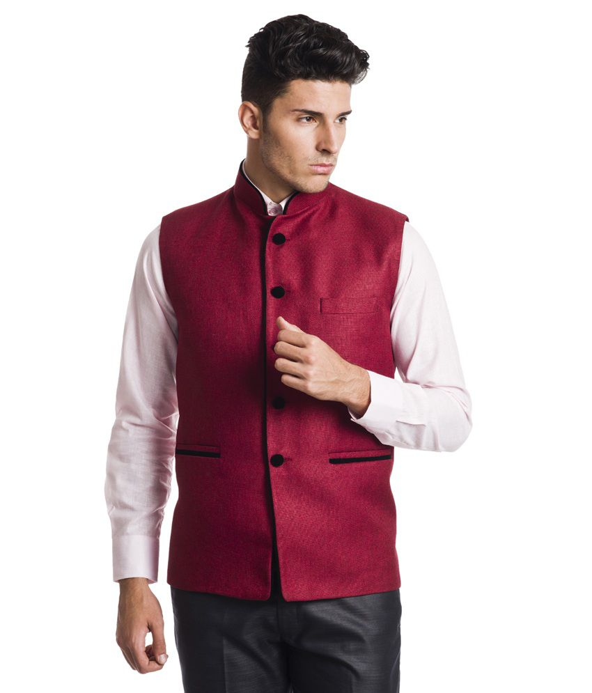 Wintage Red Rayon Party Wear Waistcoat