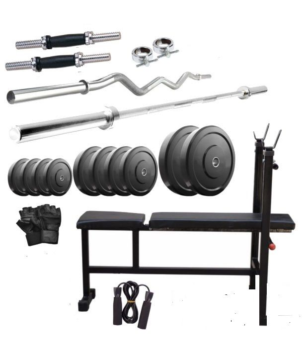 FitHit Weight Lifting Home Gym 100 Kg+Inc/Dec/Flat Bench+4 Rods(1 Zig ..