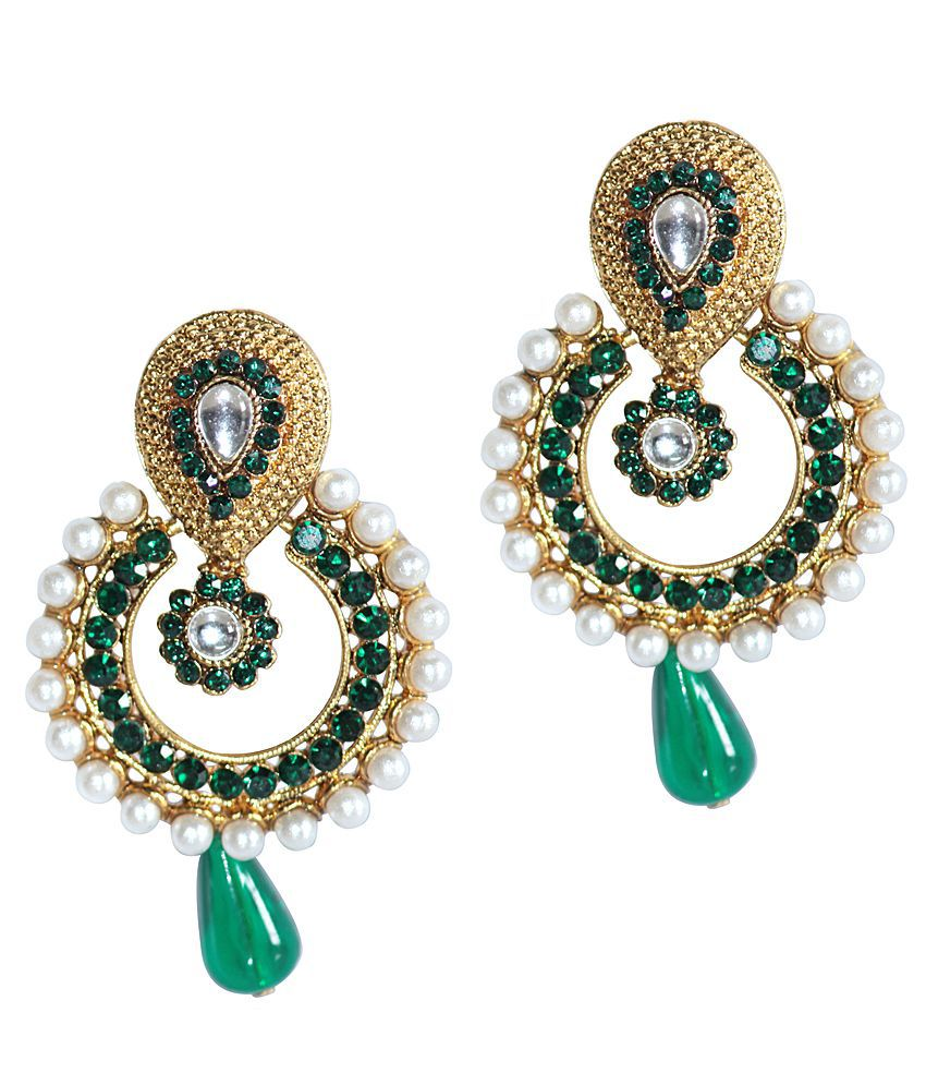 Grand Jewels Traditional Indian Pearl White and Green Earrings