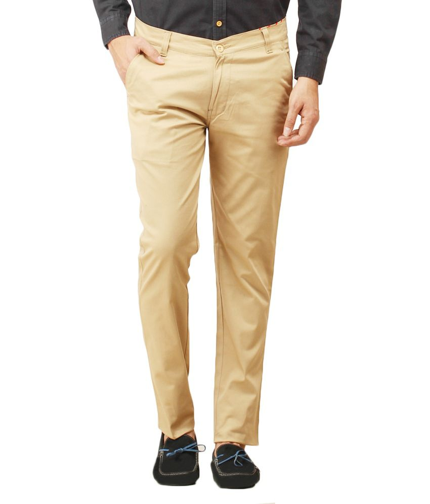 Ignis Beige Cotton Blend Chinos Slim Fit Casual Trouser