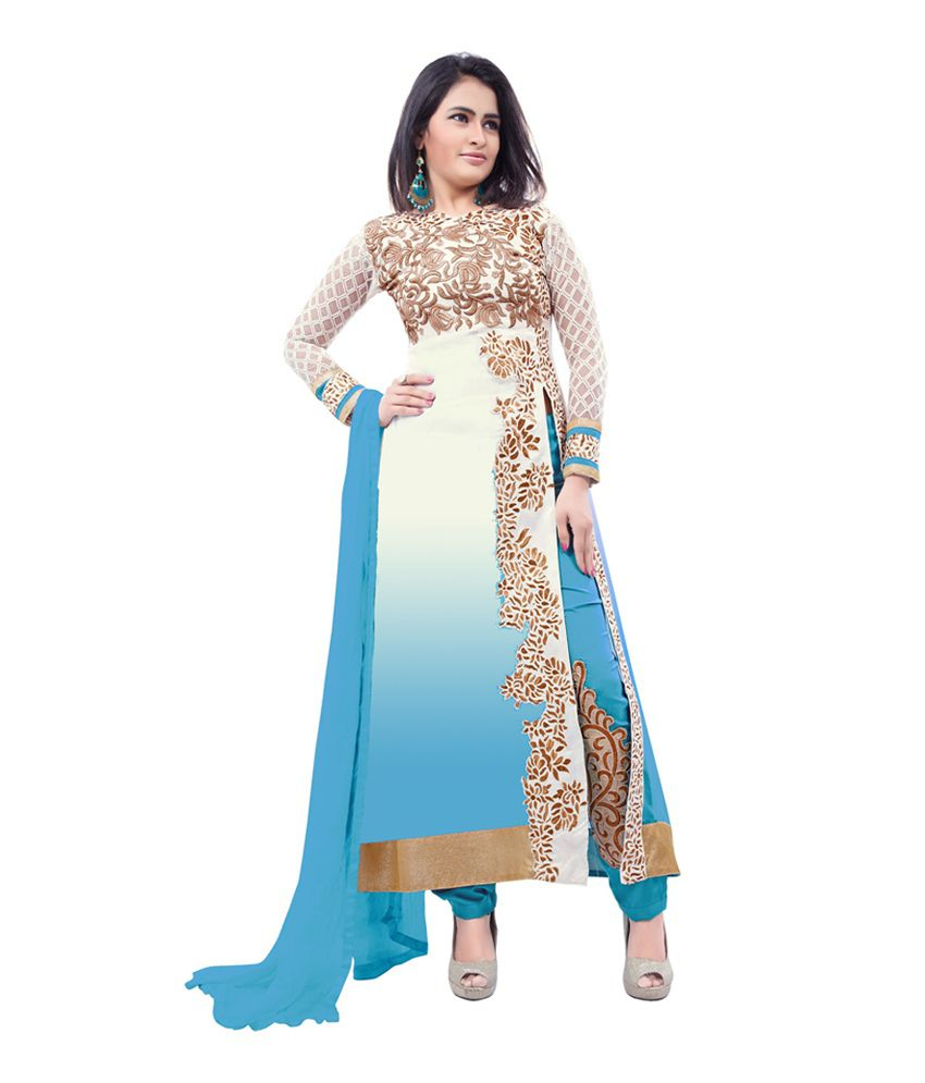 Khoobee Blue Georgette Unstitched FusionDress Material