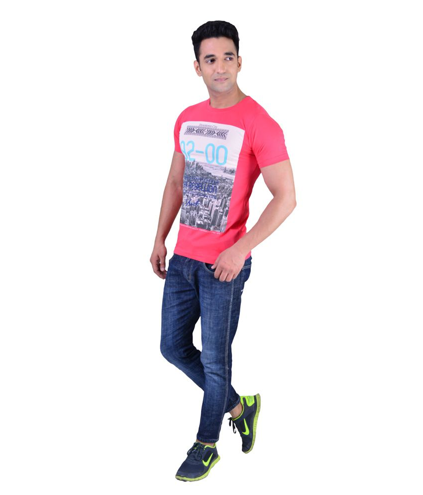 MacZone Pink Round Neck Printed Cotton T-Shirt