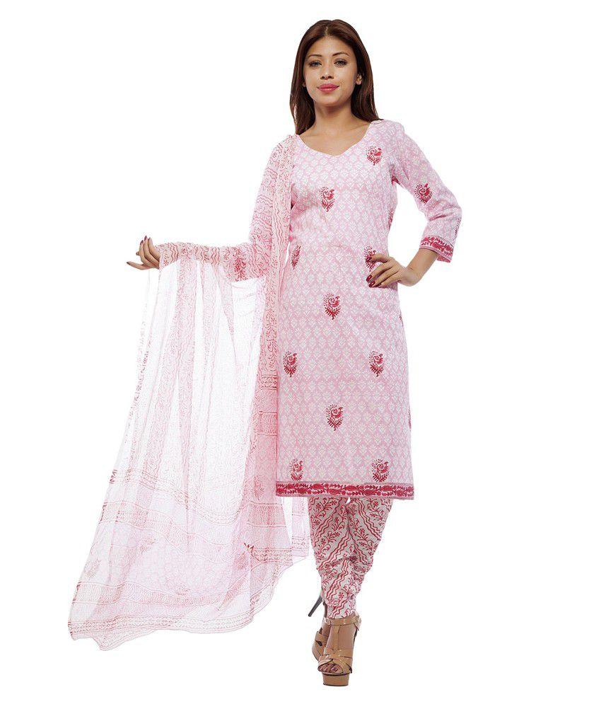 Pinkshink Pink Cotton Dress Material