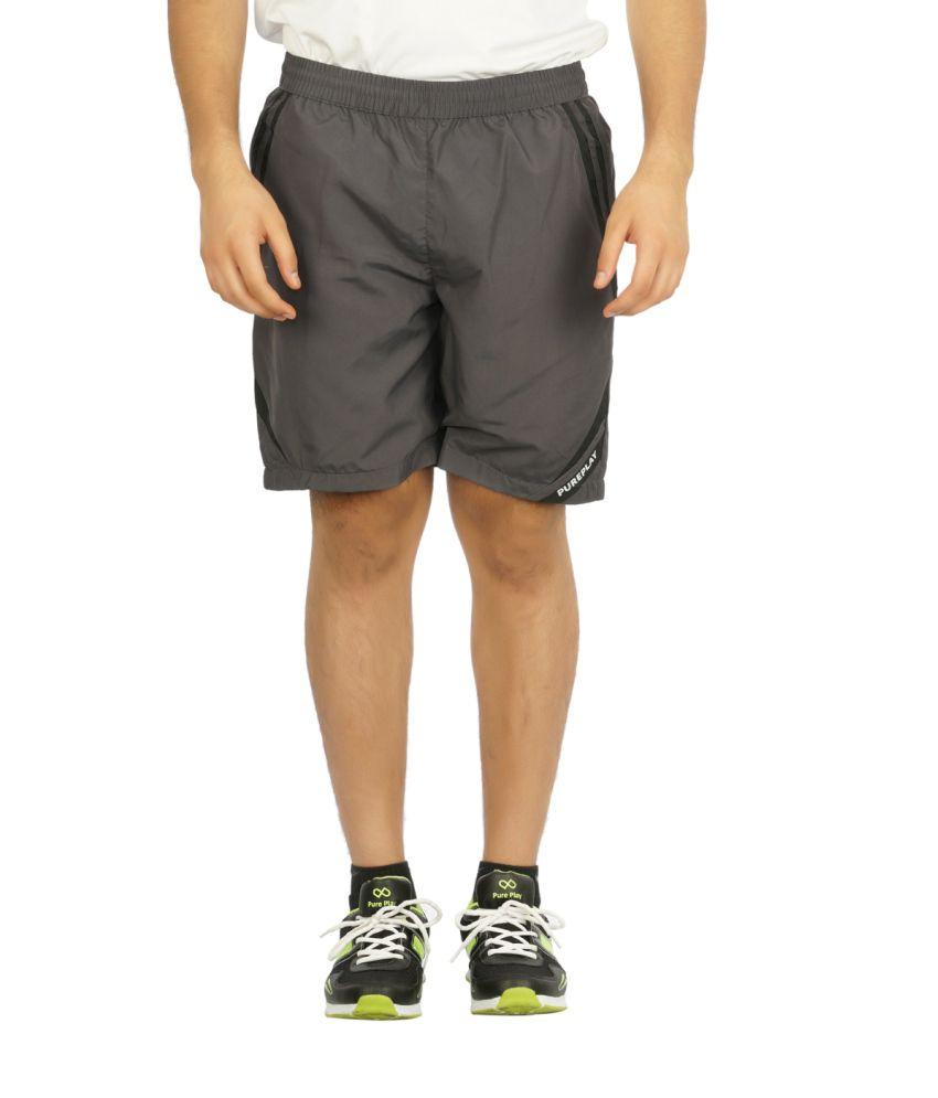 Pure Play Gray Polyester Printed Shorts