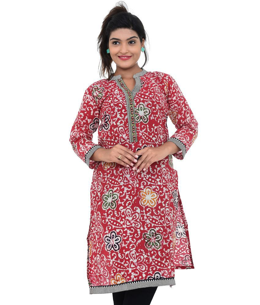 Abha Ethnic Red Cotton Kurti