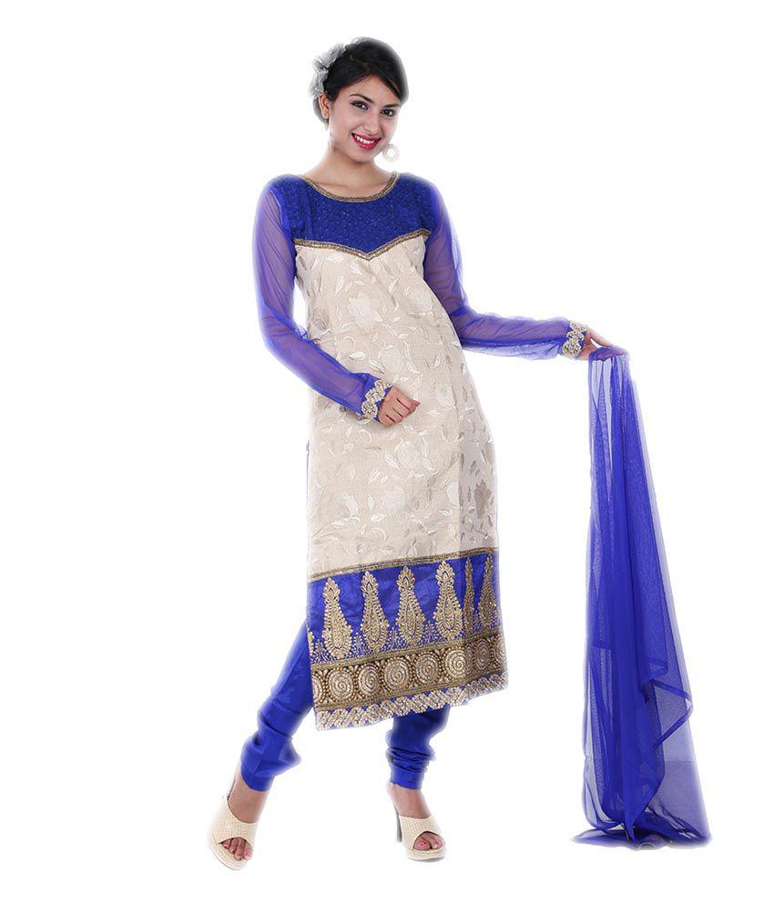Adorn Ethnic Beige Khadi Stitched Suit