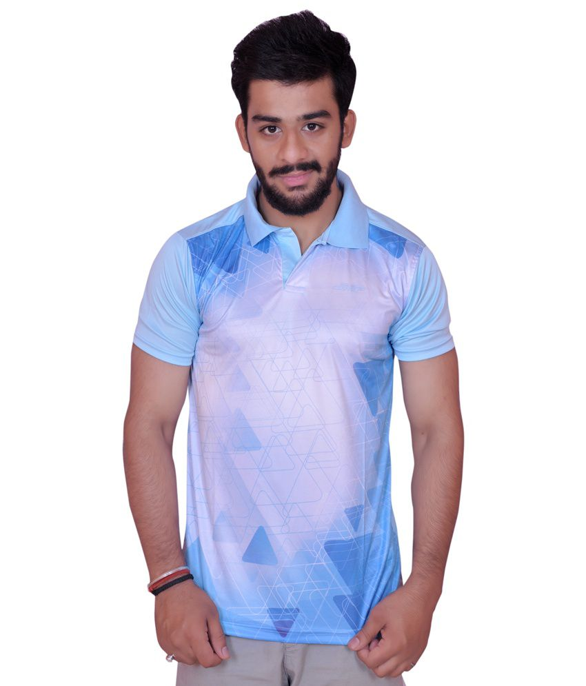 Sky Blue Polyester Sports T Shirt