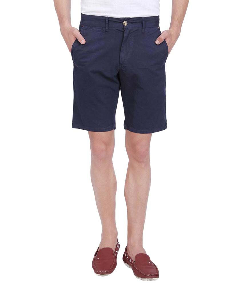 Slub Navy Blue Cotton Shorts For Men
