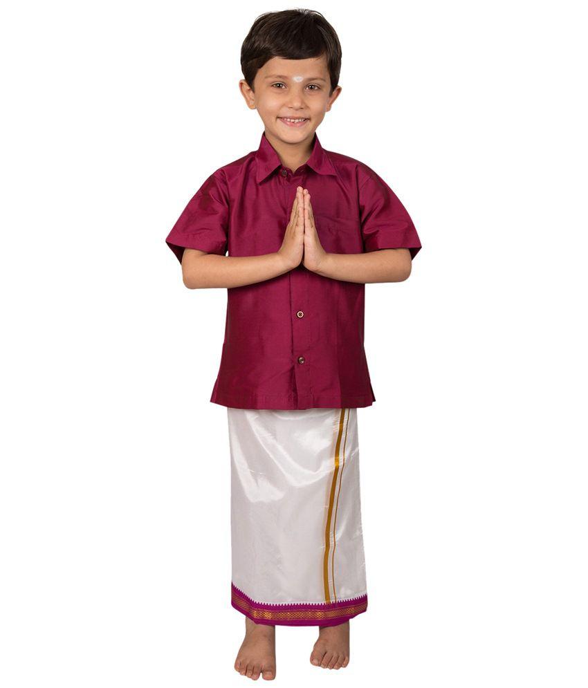 Thangamagan Dark Pink & Off White Shirt N Dhoti Set For Boys