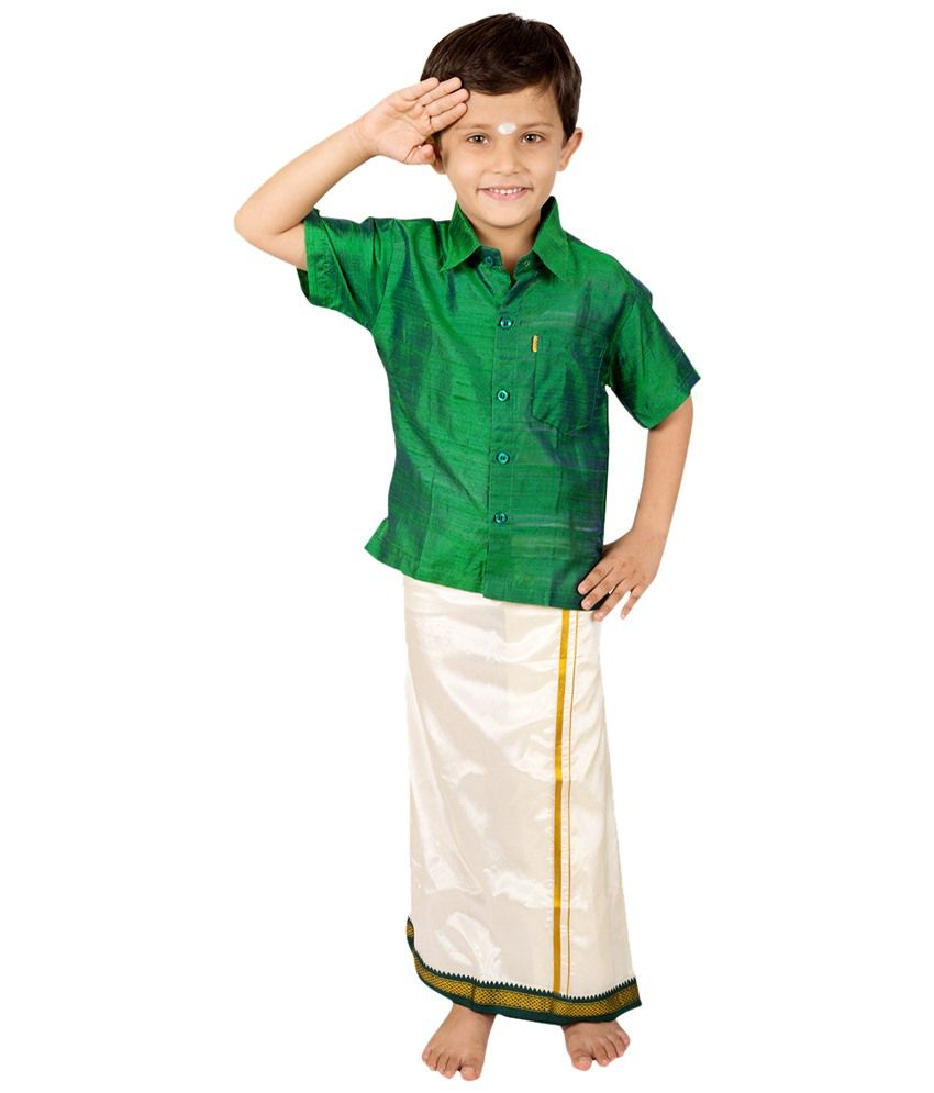 Thangamagan Good Looking Green & Beige Shirt N Dhoti Set For Boys