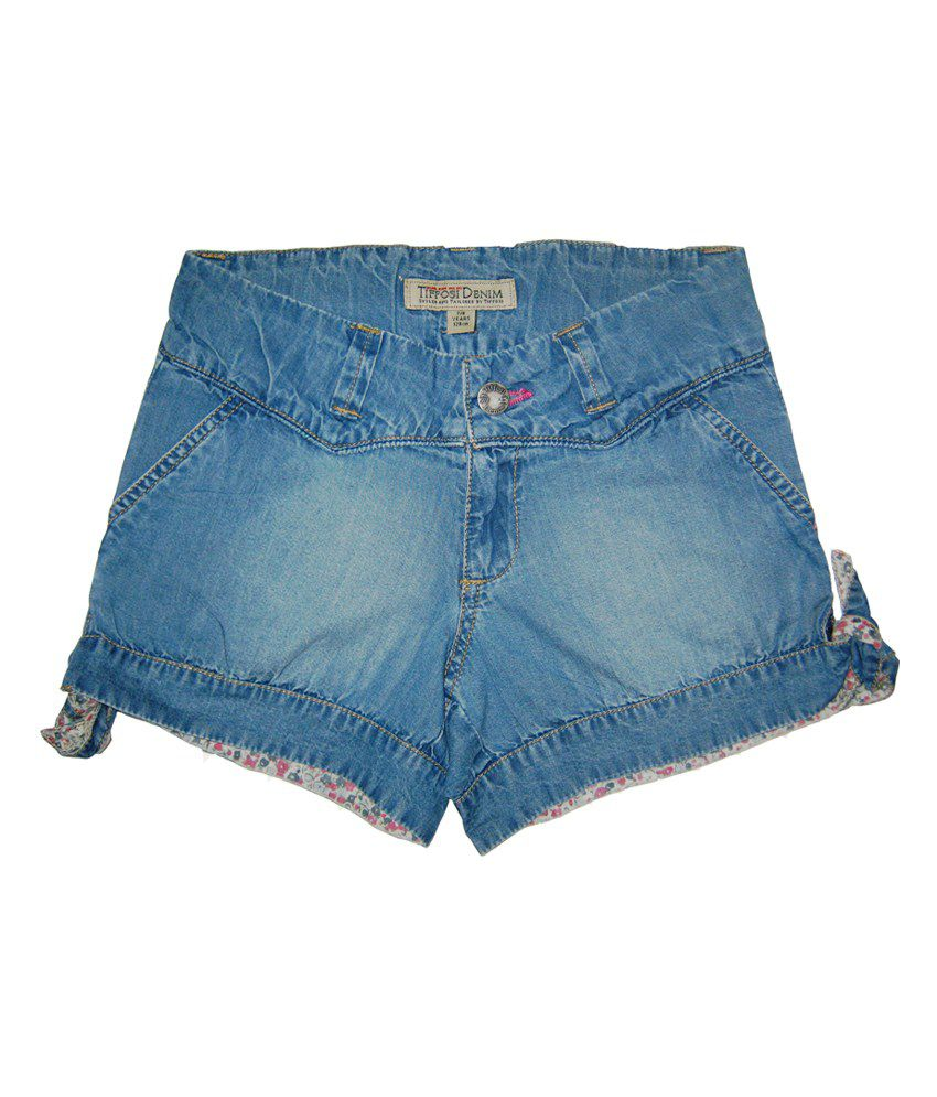 Carmino Casuals Blue Denim Elastic Short