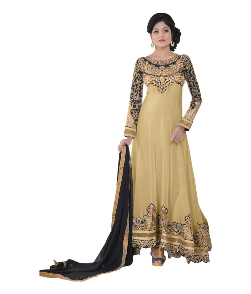 Dhanlaxmi International Beige Color Georgette Fabric Semi Stitched Salwar Suit.