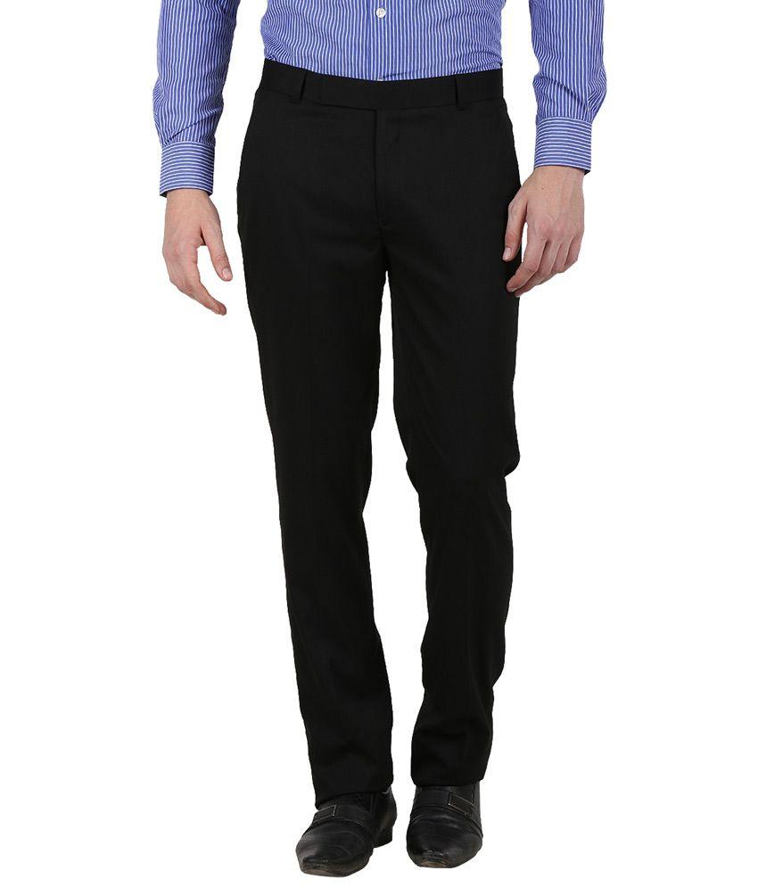 Kingswood Black Poly Viscose Flat Formal Trouser
