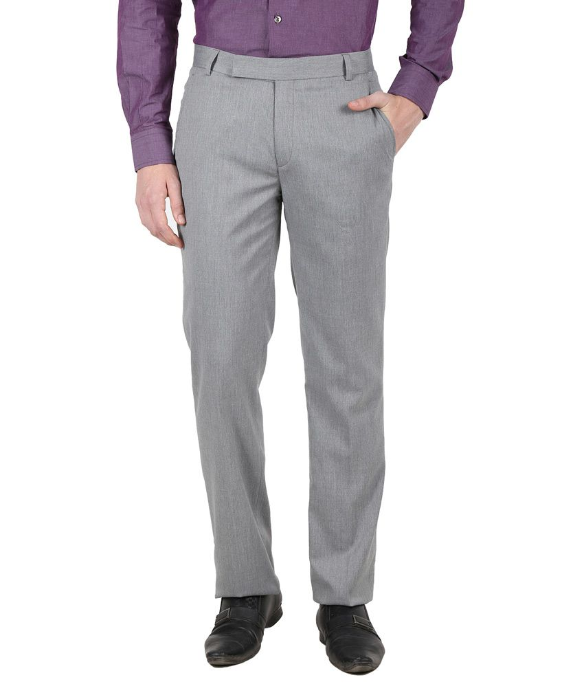 Kingswood Gray Poly Viscose Flat Formal Trouser
