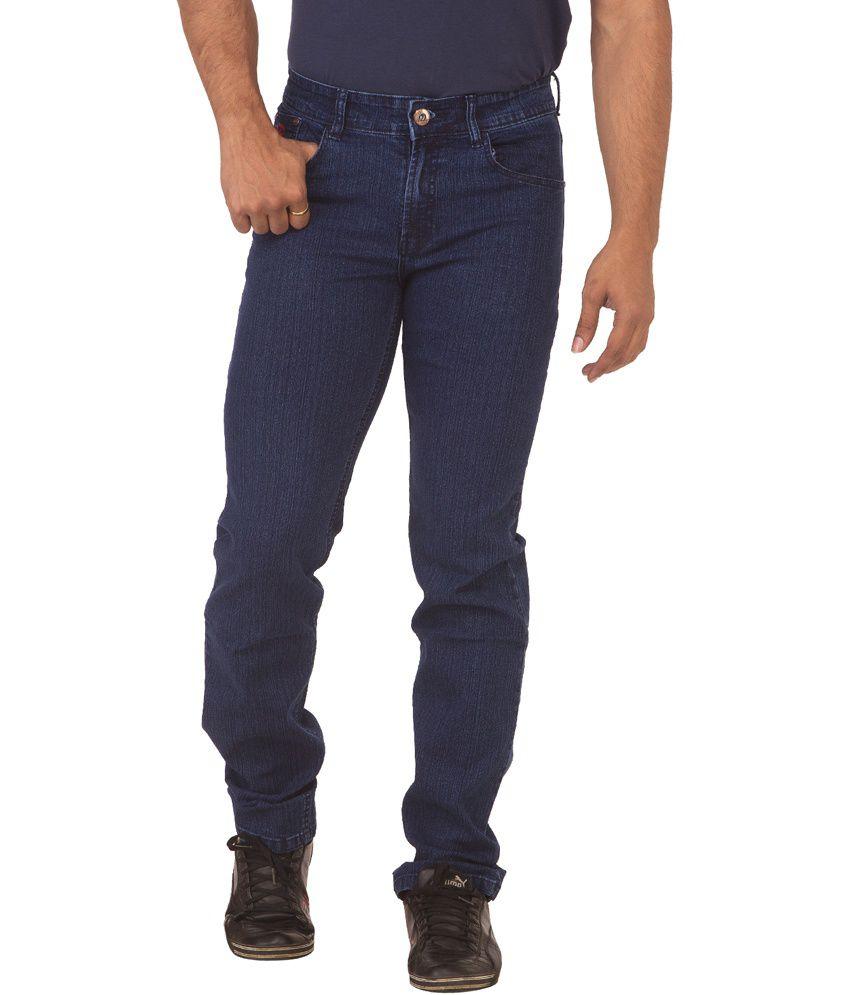 Race-q Navy Cotton Blend Slim Jeans