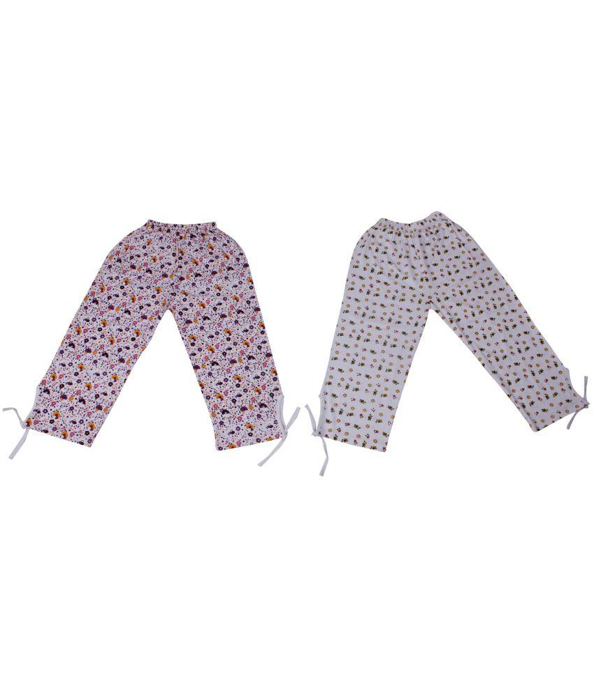 Weecare Cotton Print Capris Girls Set Of 2