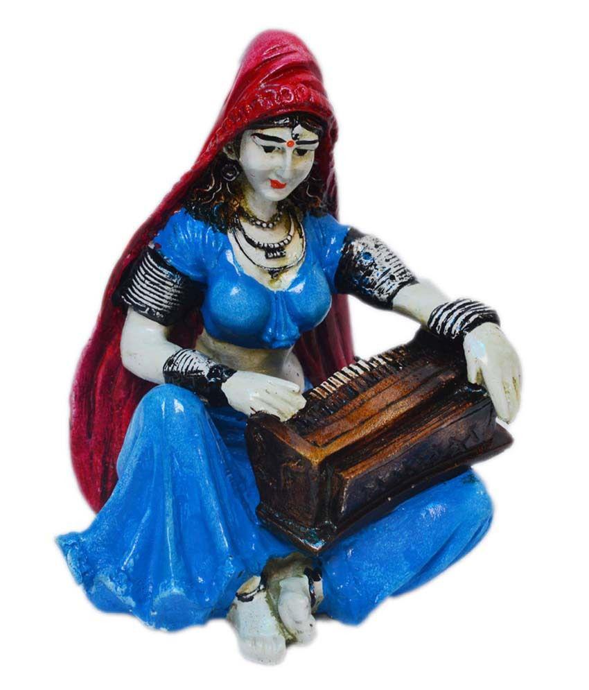 eCraftIndia Polyresin Rajasthani Lady Playing Harmonium Showpiece