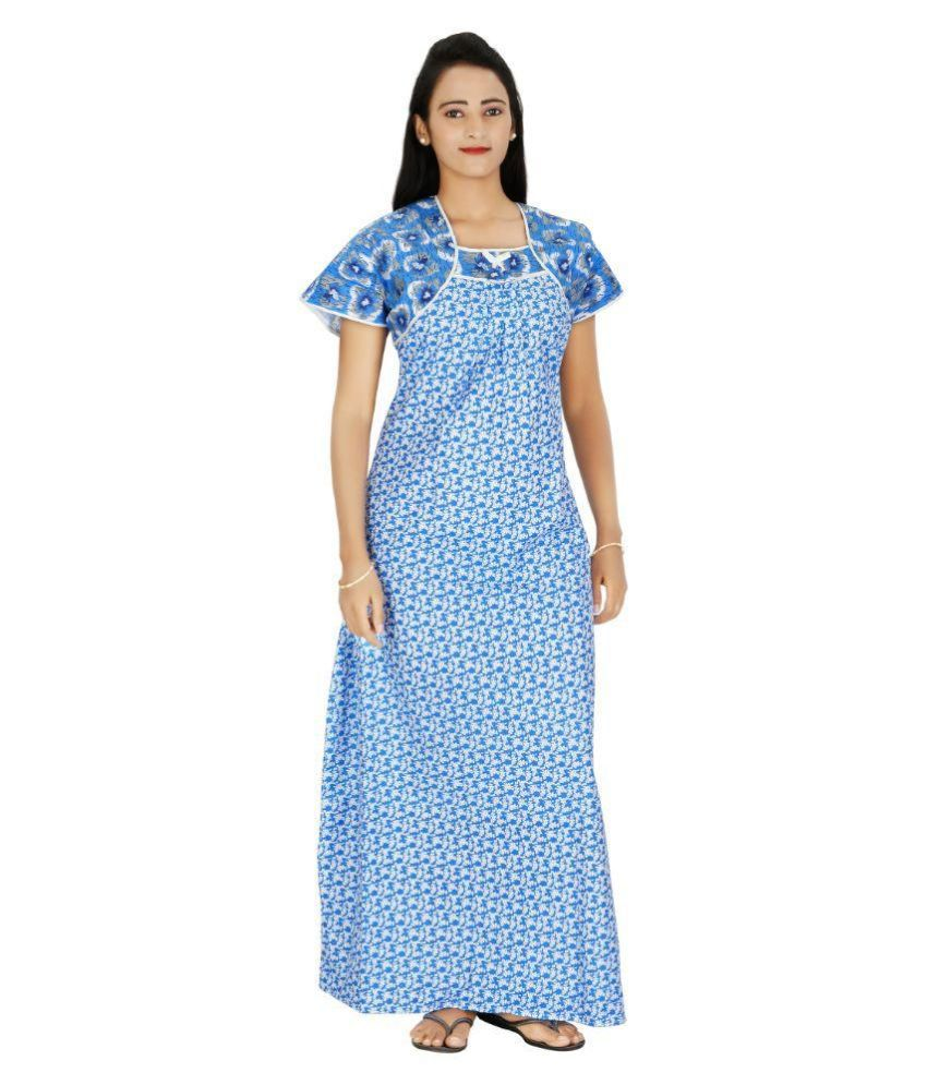 f9e18ef71d Buy Indian Beauty Blue Cotton Nighty   Night Gowns Online at Best Prices in  India - Snapdeal