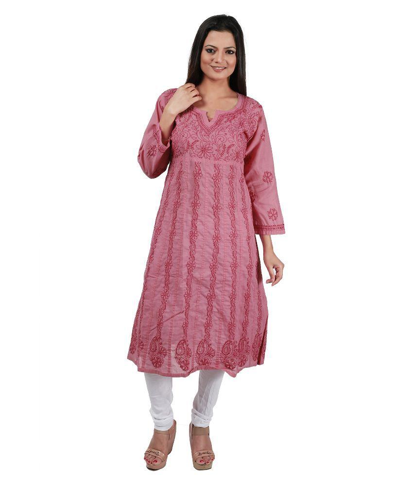 IndianKalakari Pink Cotton A-line Kurti