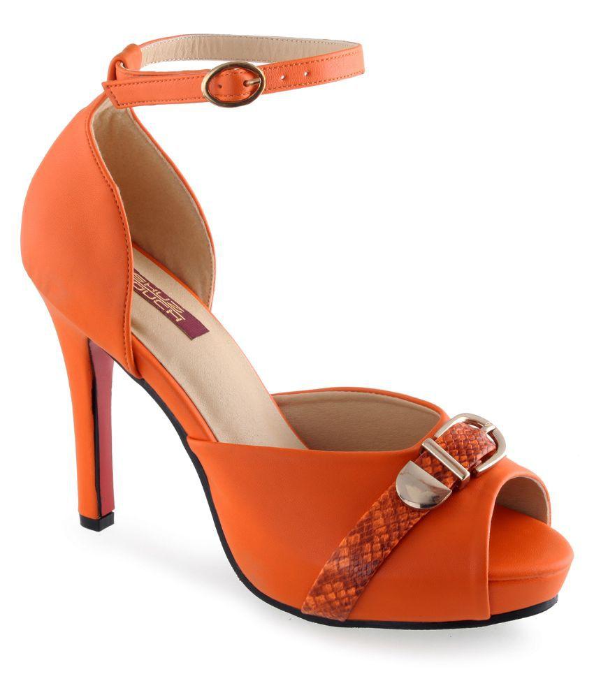 Shuz Touch Orange Stiletto Heels