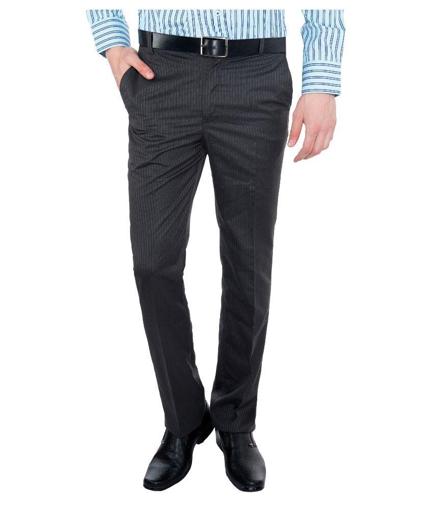 Vimal Black Slim Fit Flat Trousers