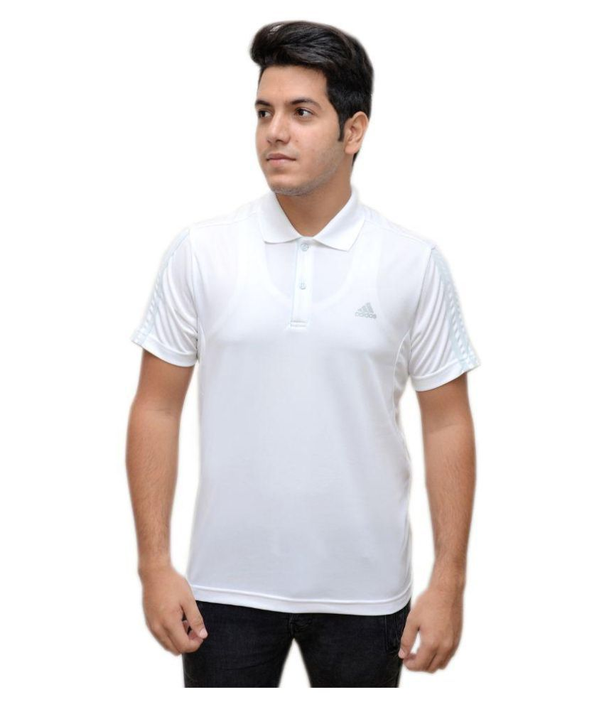 Adidas White Polo T Shirts