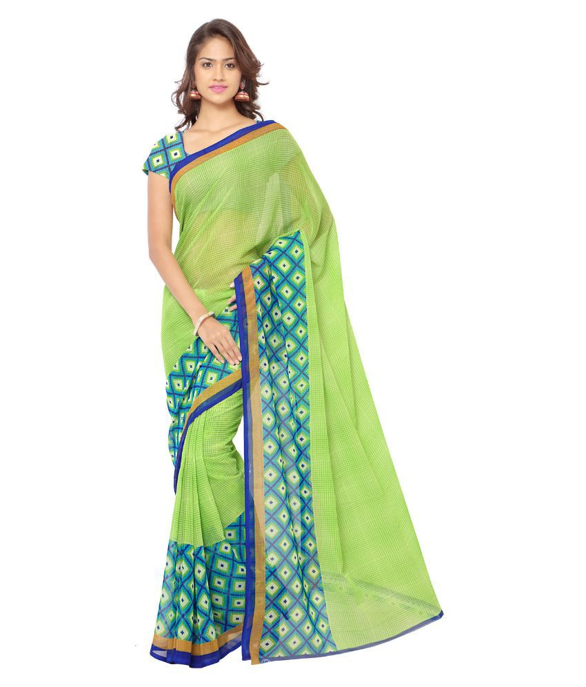 ANAND SAREES Green,Blue Georgette Saree
