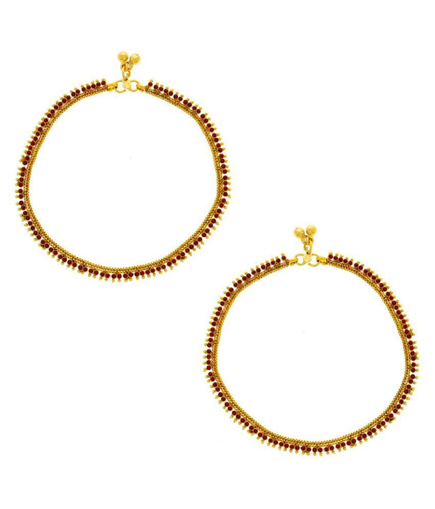 Anuradha Art Alloy Gold Plating Cubiz Zirconia Studded Gold Coloured Pair Of Anklets