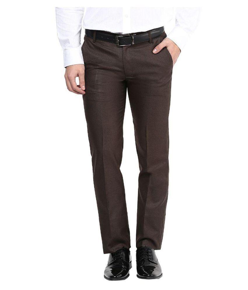 Bukkl Brown Slim Fit Flat Trousers