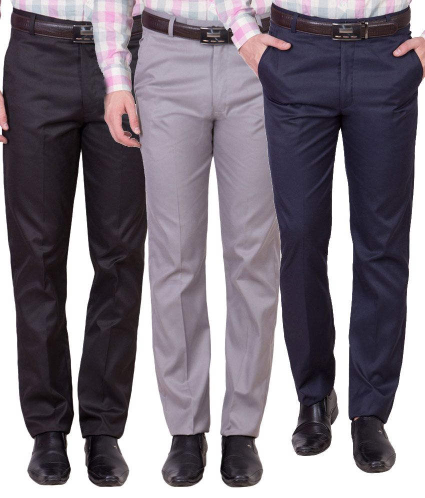 Cliths Multicolor Slim Fit Flat Trousers - Pack of 3