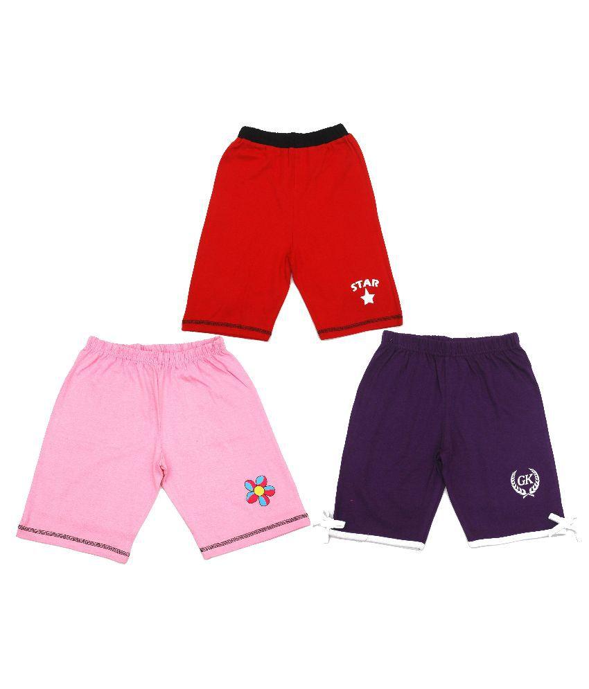 Gkidz Multicolour Cotton Shorts - Pack of 3