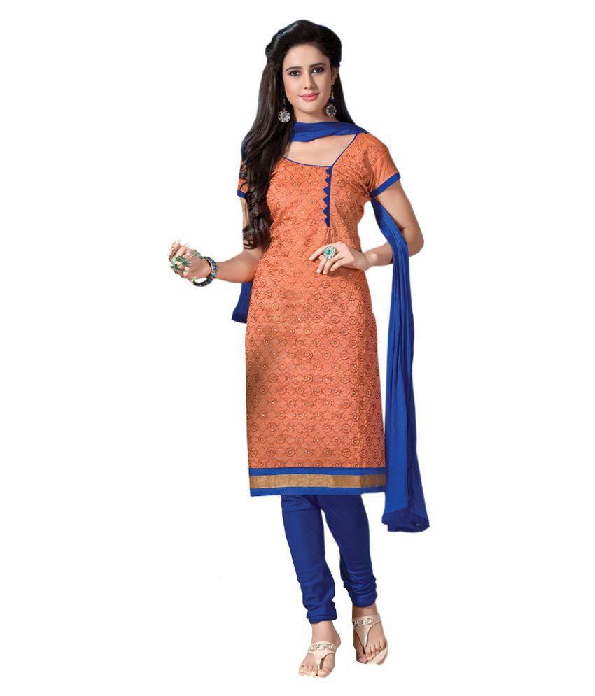 Indian Fashion 4 U Orange Chanderi Straight Unstitched Dress Material