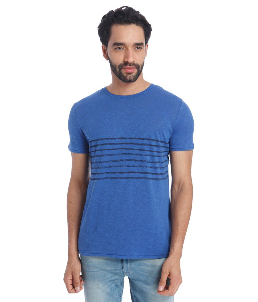 Jack & Jones Blue Round Neck Half Sleeves Solids T-Shirt