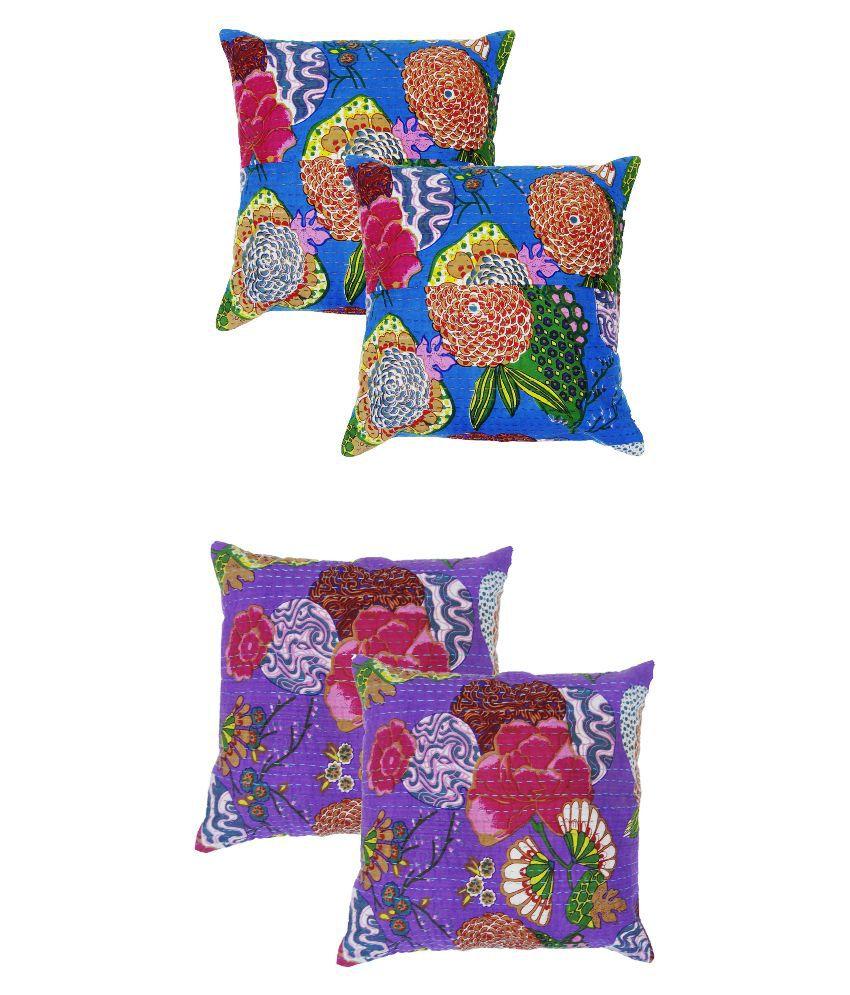 Jaipuri Multicolour Cotton Cushion Covers - Set of 4