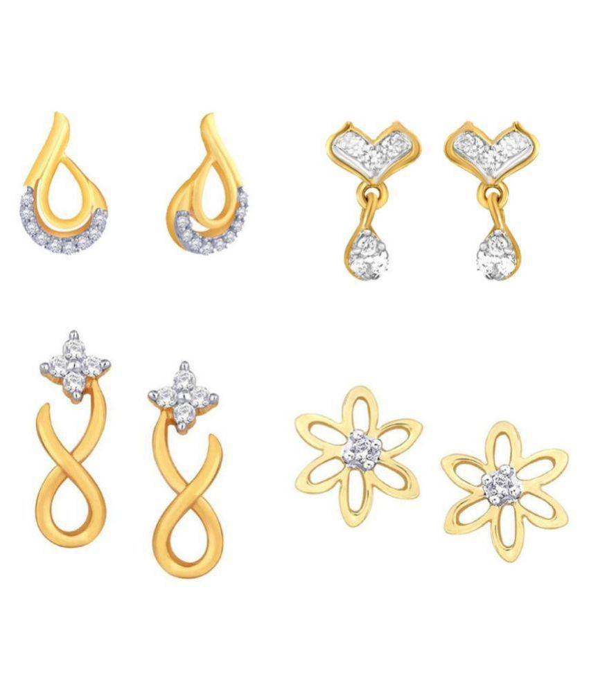 Kaizer Jewelry Alloy Gold Plating American diamonds Studded Gold Coloured Earrings Combo