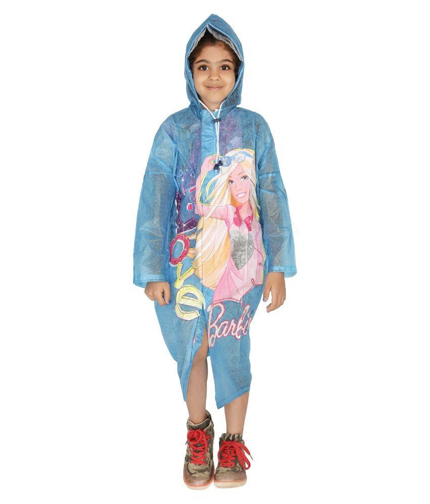 ZEEL Blue Printed Long Raincoat For Girls