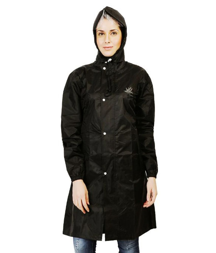 Zeel Black Waterproof Long Raincoat