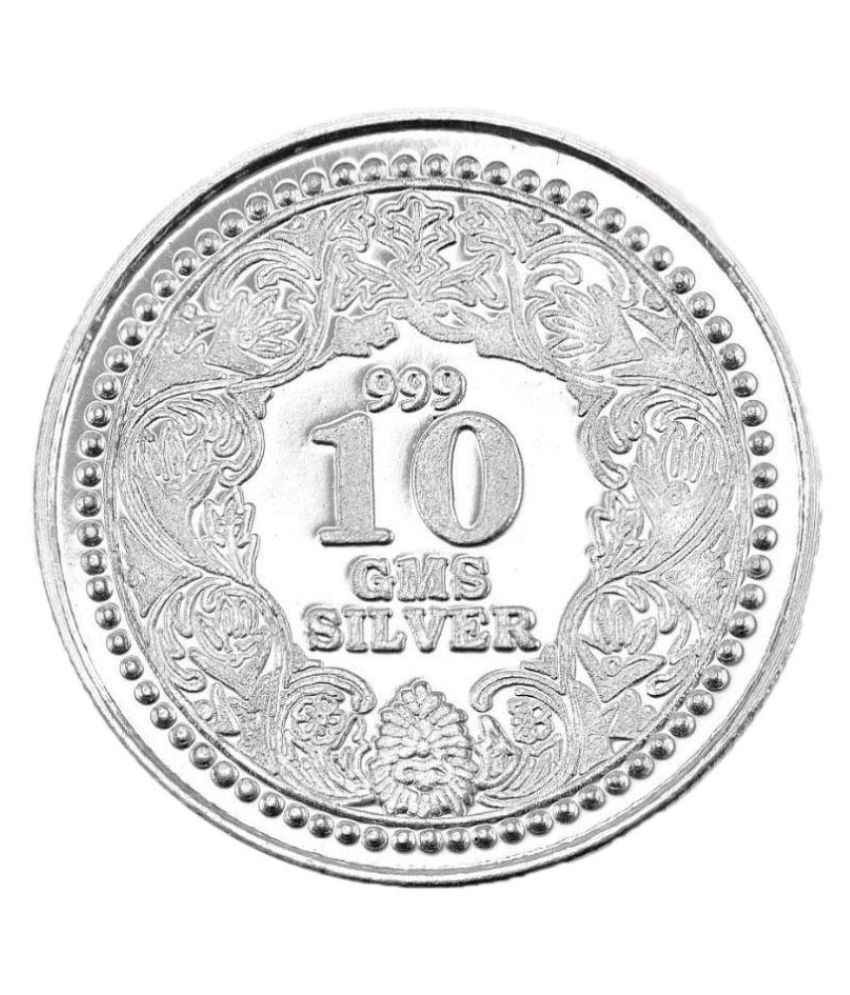 99jewels 10 Gm Silver Coins 999 Purity Plain Silver Coin